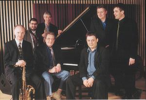 Ellingtonia : Left to right Mornington Lockett, Andy Panayi, Dick Pearce, Stan Tracey, Clark Tracey, Mark Nightingale, Andrew Cleyndert